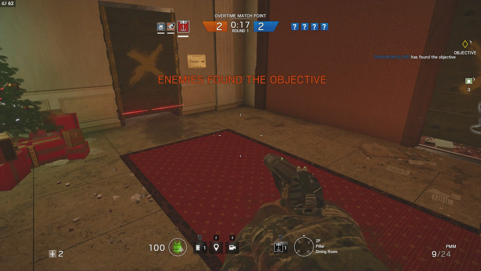 Snapshot of how it looks in game on an barricaded door way.